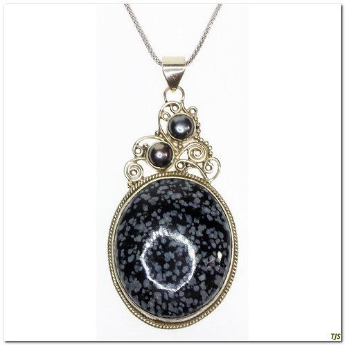 Sterling Vintage Agate Necklace