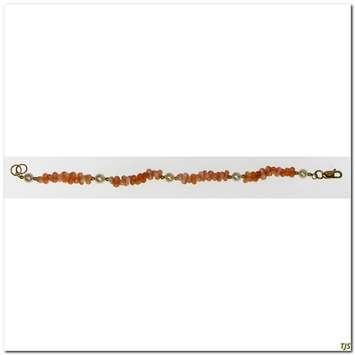 Gold Coral And Pearl Bracelet
