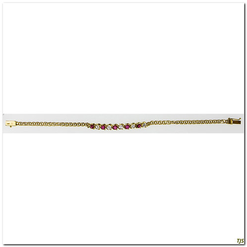 Gold Diamond Ruby Bracelet