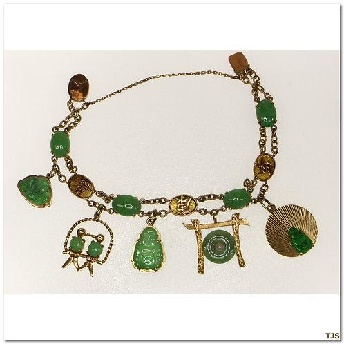 Gold Jade Charm Bracelet
