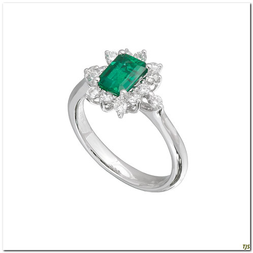 Platinum Diamond & Emerald Ring