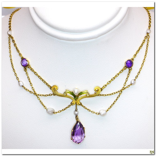 Gold Seed Pearl And Amethyst Necklace