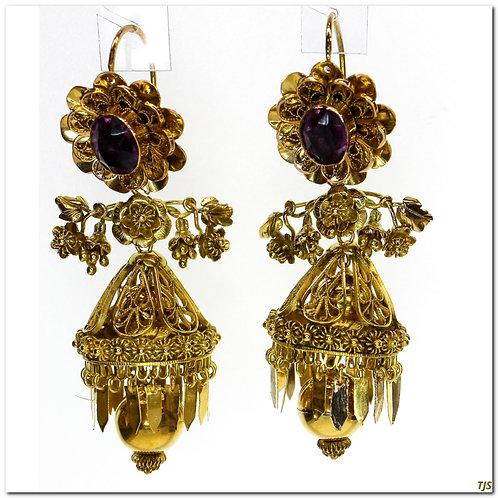 Gold Filigree Amethyst Dangle Earrings