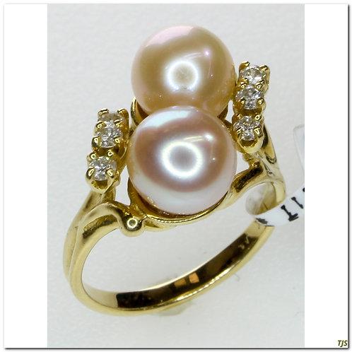 Gold Akoya Pearl And Diamond Ring