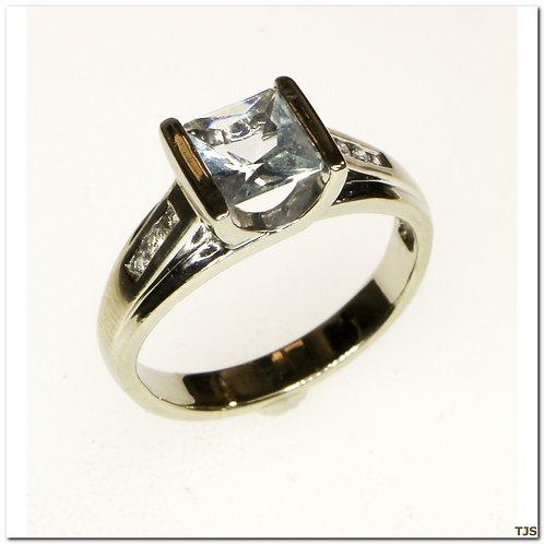 Gold Diamond And Aquamarine Ring