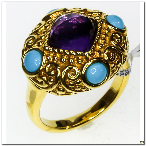 Gold Amethyst & Turquoise Ring