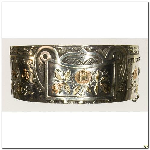 Gold & Silver Floral Bangle Bracelet