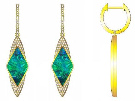 Gold Diamond & Opal Earrings