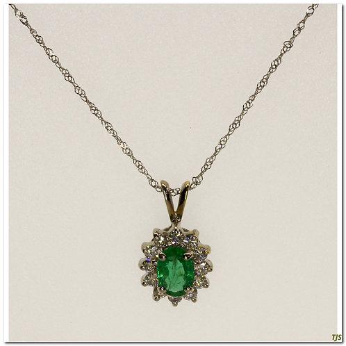 Gold Diamond & Emerald Pendant