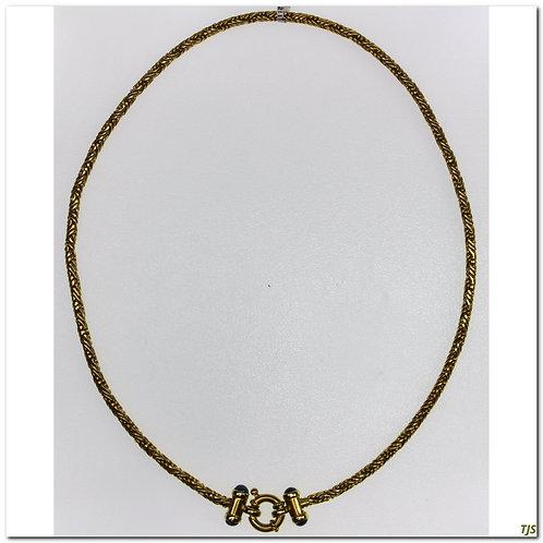 Textured Gold Choker Sapphires