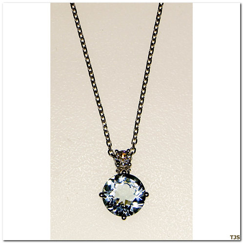 Gold Diamond And Aquamarine Pendant