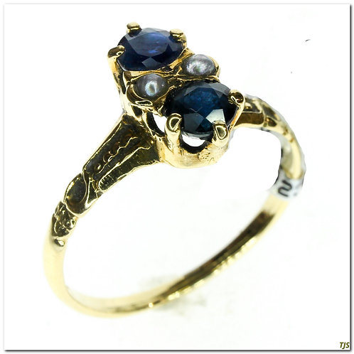 Sapphire & Seed Pearl Ring