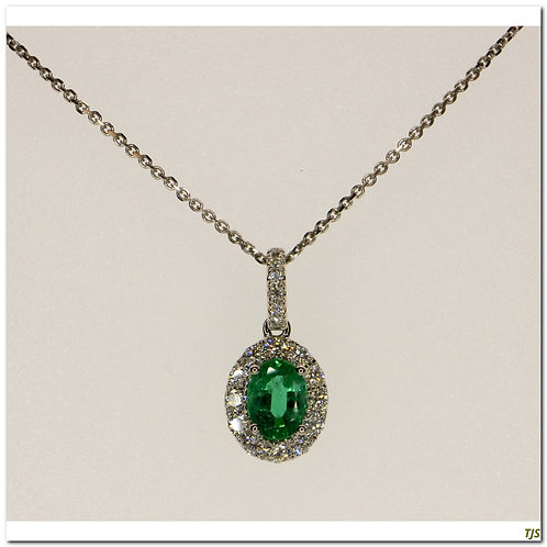 Gold Diamond & Emerald Pendant