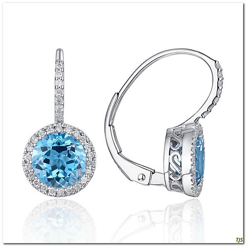 Gold Diamond & Blue Topaz Earrings