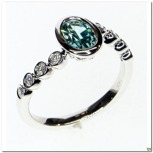 Gold Diamond & Blue Zircon Ring