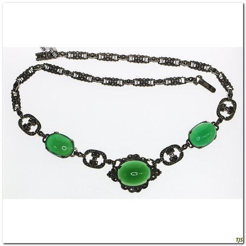 Sterling Art Deco Marcasite And Quartz Necklace