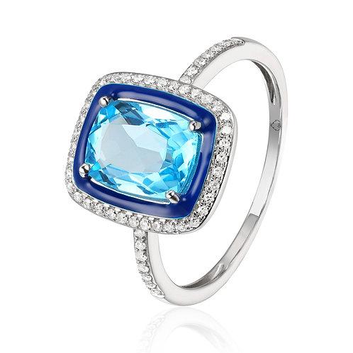 Gold Diamond & Blue Topaz Ring