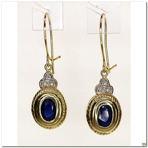 Gold Diamond & Saphire Earrings