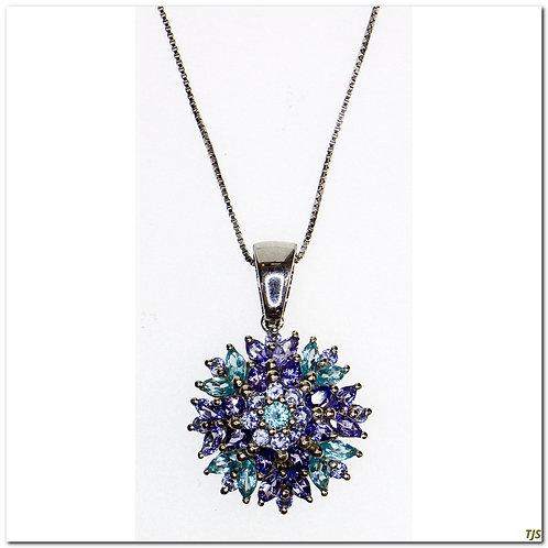 Sterling Apatite Tanzanite Necklace