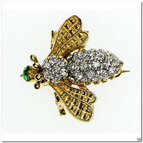 Vintage Emerald & Diamond Pin