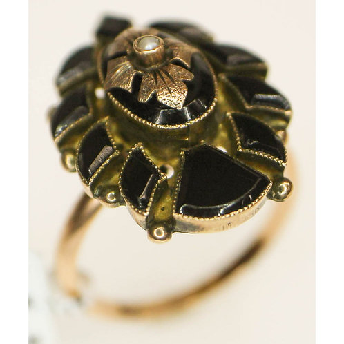Two Tone Seed Pearl Onyx Ring