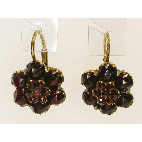 Brass Flower Garnet Earrings