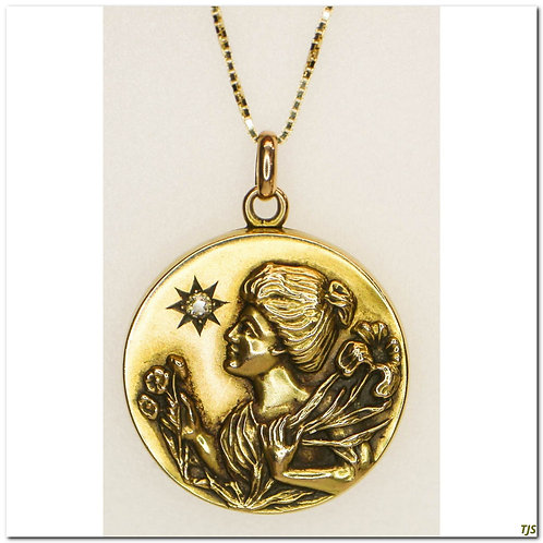 Gold Repousse & Diamond Locket