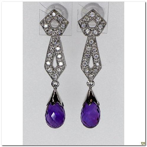 Gold Diamond & Amethyst Earrings