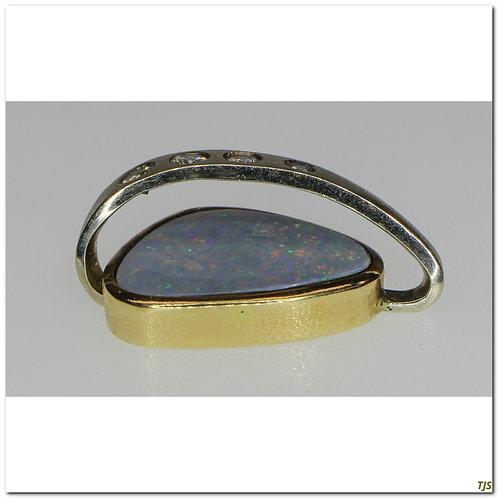 Gold Diamond Opal Pendant