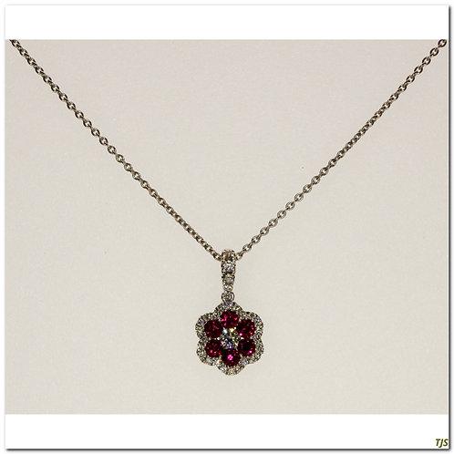 Gold Diamond & Ruby Pendant