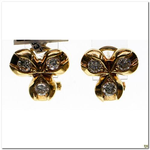 Gold Diamond Leaf Earrings