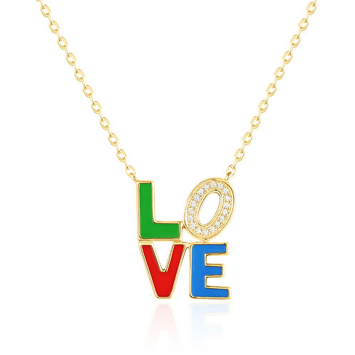 Gold Diamond & Enamel Necklace