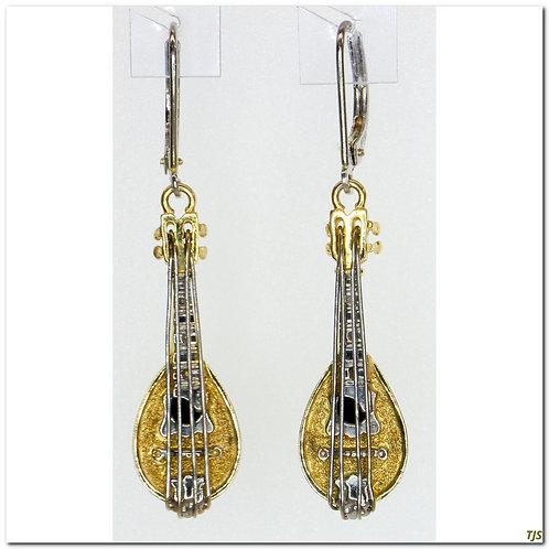 Gold & Platinum Dangle Earrings