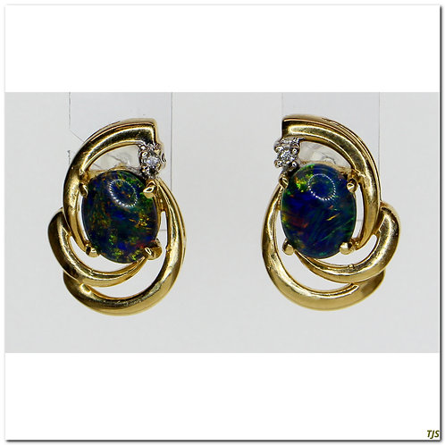 Gold Opal Earrings