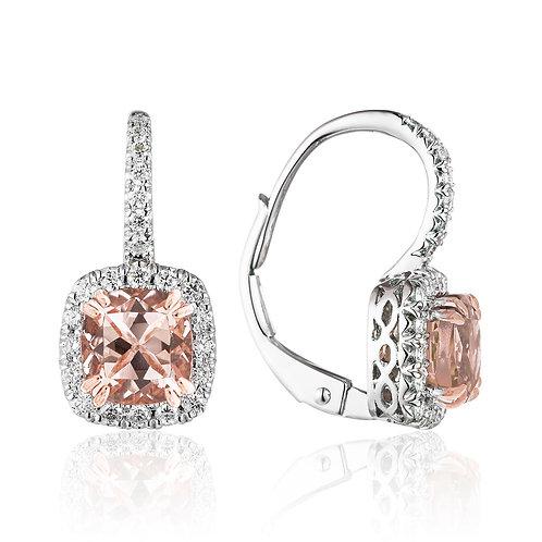 Gold Diamond & Morganite Earrings