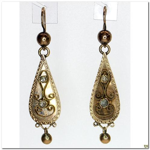 Gold Victorian Filligree Earrings