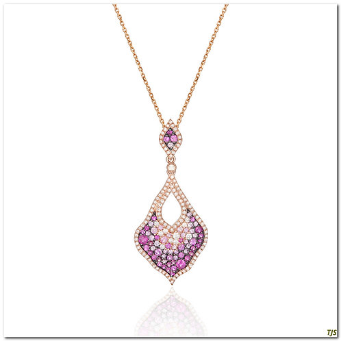 Gold Diamond & Pink Sapphire Necklace