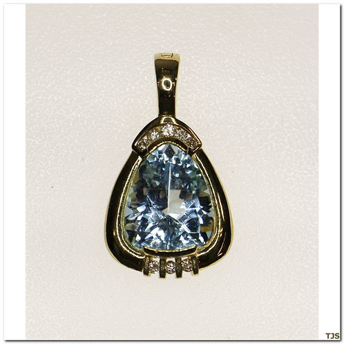 Gold Diamond & Blue Topaz Pendant