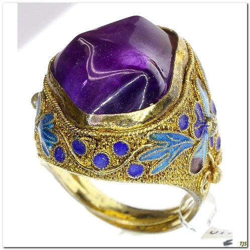 Silver Enameled Ring