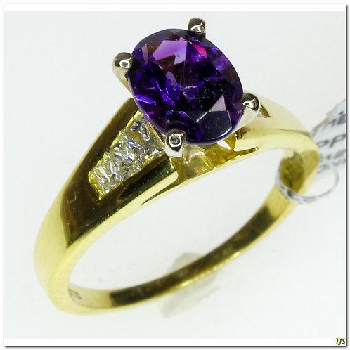 Gold Diamond & Amethyst Ring
