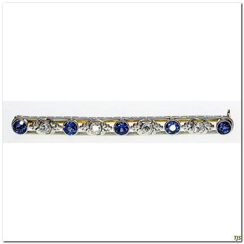 Platinum Edwardian Diamond & Sapphare Pendant