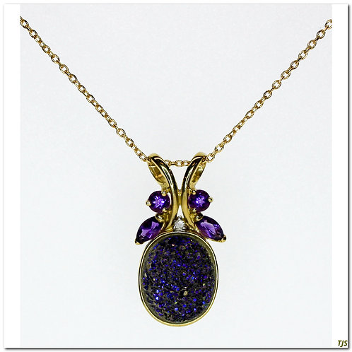 Gold Druzy Quartz Necklace