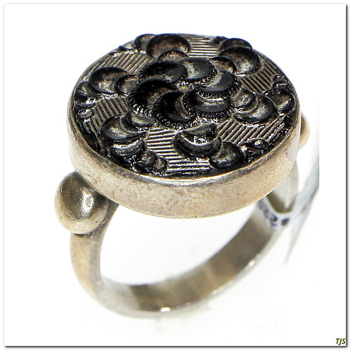 Sterling Antique Button Ring