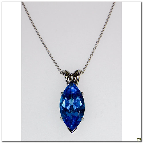 Gold Blue Topaz Necklace