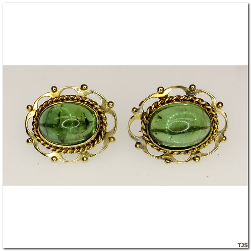 Gold Green Tourmaline Earrings