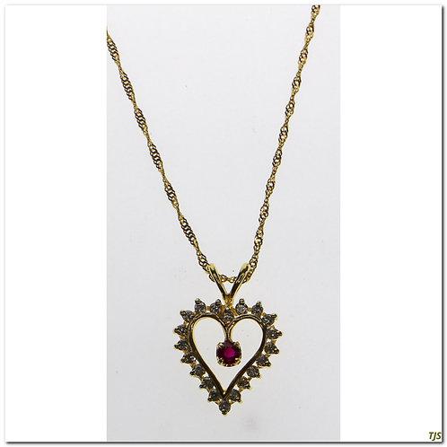Gold Diamond & Ruby Necklace