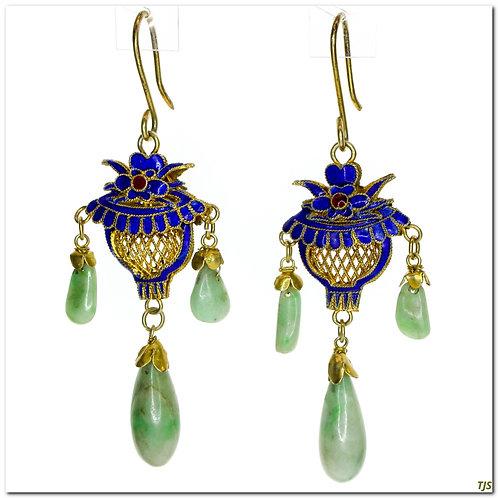Silver Jade Dangle Earrings
