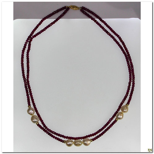 Gold Ruby And Pearl Necklace