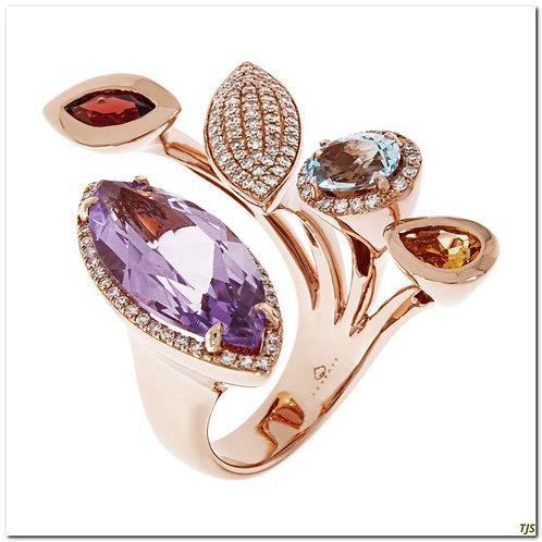 Multi-Gem & Diamond Ring