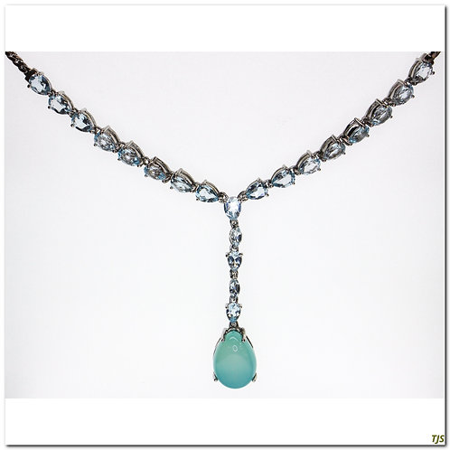 Silver Blue Topaz Agate Necklace
